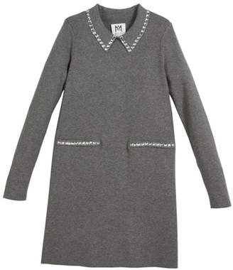 Milly Minis Rhinestone-Trim Long-Sleeve Dress, Size 4-7