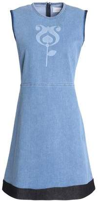 Victoria Beckham Victoria Color-Block Printed Denim Mini Dress