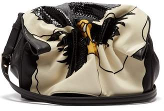 Valentino Bloomy Appliqued Leather Shoulder Bag - Womens - Black White