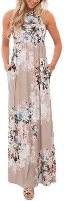 Walant Women's Sexy Flower Printed Sleeveless Maxi Dress (M, )