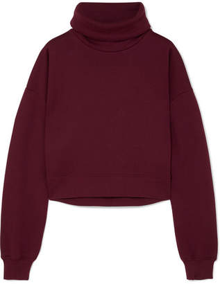 Ninety Percent Cropped Organic Cotton-jersey Sweatshirt - Burgundy