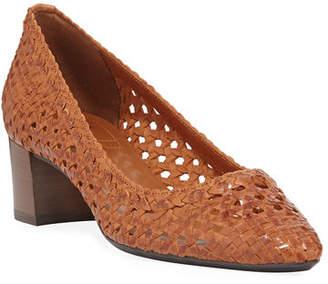 Aquatalia Pasha Woven Leather Block-Heel Pumps