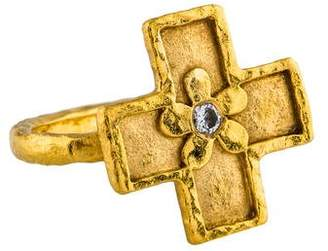 Cathy Waterman 22K Diamond Cross Ring