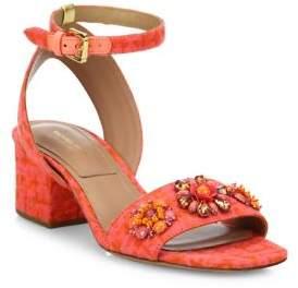 Michael Kors Collection Sam Jeweled Jacquard Block Heel Sandals