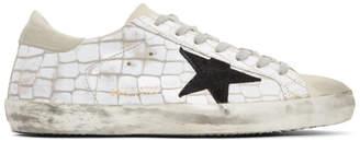 Golden Goose White Croc Superstar Sneakers
