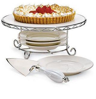 "Godinger Siena"" Cake Stand with Dessert Set"