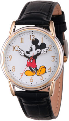 DISNEY Disney Womens Black And Rose Gold Tone Vintage Mickey Strap Watch W002755 $39.99 thestylecure.com
