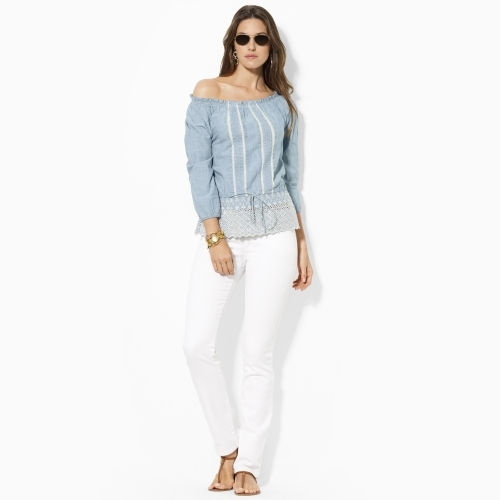 Lauren Ralph Lauren Ralph Smocked Cotton Chambray Shirt