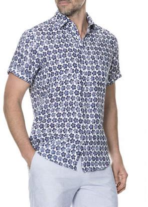 Rodd & Gunn Men's Keyburn Floral-Print Linen Short-Sleeve Sport Shirt