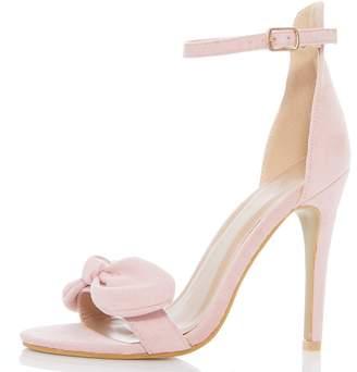 df96972bdba at Quiz Clothing · Quiz Pink Faux Suede Bow High Heel Sandals