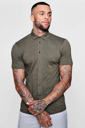 boohoo Muscle Fit Short Sleeve Jersey Shirt