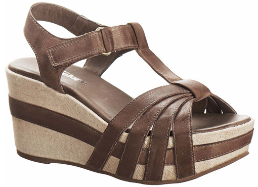 Antelope Taupe T-Strap Leather Wedge Sandal