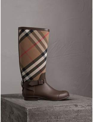 Burberry Belt Detail House Check and Rubber Rain Boots