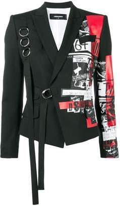 DSQUARED2 Punk print buckled blazer