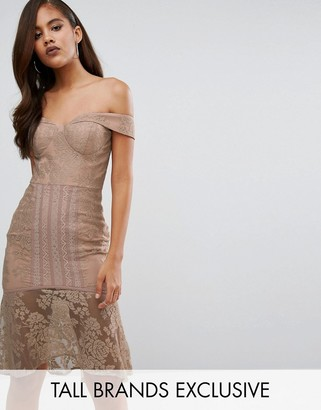 Jarlo Tall Off Shoulder All Over Lace Pencil Dress $128 thestylecure.com