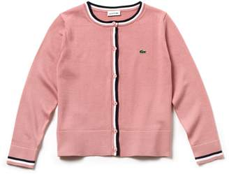 Lacoste Girls' Contrast Finishes Cotton Jersey Cardigan
