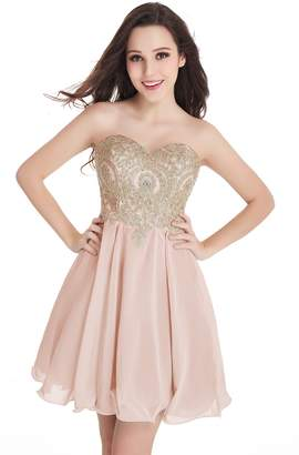 Babyonlinedress Chic Knee Length Tulle Appliques Dance Quinceanera Prom Dress
