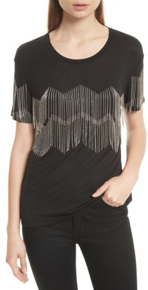 Women's The Kooples Chain Fringe Tee $175 thestylecure.com