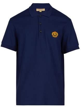 Burberry Logo Embroidered Cotton Pique Polo Shirt - Mens - Navy