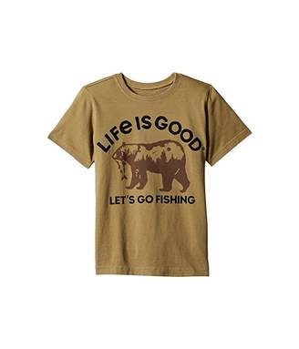 Life is Good Fishing Bear Crushertm Tee (Little Kids/Big Kids)