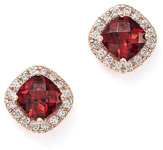 Bloomingdale's Garnet Cushion Cut and Diamond Stud Earrings in 14K Rose Gold - 100% Exclusive