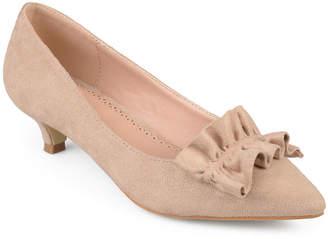 Journee Collection Womens Sabree Pumps Slip-on Pointed Toe Kitten Heel