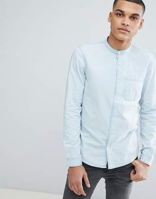Pull&Bear Grandad Collar Shirt In Light Blue