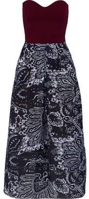 Roland Mouret Hedingham Strapless Ribbed Knit-Paneled Printed Organza Midi Dress