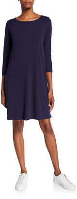Eileen Fisher Plus Size Lyocell Jersey 3/4-Sleeve Dress