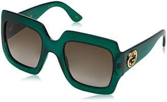 Gucci Women's GG0053S Sunglasses, Green-Brown
