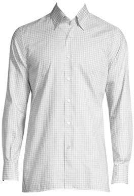 Canali Check Cotton Button-Down Shirt