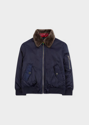 Paul Smith Boys' 8+ Years Navy Bomber Jacket With Removable Collar