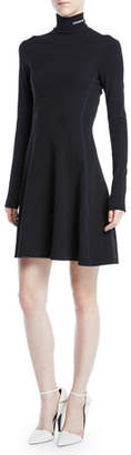 Calvin Klein Turtleneck Long-Sleeve Fit-and-Flare Jersey Dress w/ Contrast Stitch