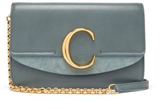 Chloé The C Leather And Suede Shoulder Bag - Womens - Blue Multi