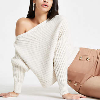River Island Cream knit asymmetric off shoulder sweater