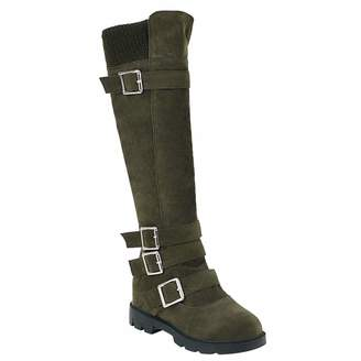 8c894fe3e7a4 BIGTREE Womens Snow Boots Flat Comfortable Winter Warm Faux Suede Over The  Knee Boots with Side