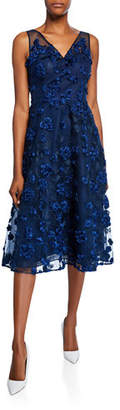 Rickie Freeman For Teri Jon Tulle Tea-Length Dress w/ Floral Appliques