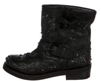 Ash Studded Leather Ankle Boots
