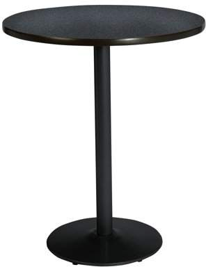 "KFI seating KFI 30"" Round Pedestal Table with Graphite Nebula Top, Round Black Base, Bistro Height"