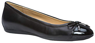Geox Women's Lola Flat Bow Detail Ballet Pumps, Black Leather