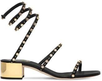 Rene Caovilla 40mm Snake Swarovski Leather Sandals