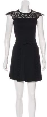 RED Valentino Lace-Accented Mini Dress