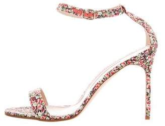 Manolo Blahnik Floral Print Satin Sandals w/ Tags
