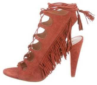 Sigerson Morrison Fringe-Trimmed Lace-Up Sandals w/ Tags