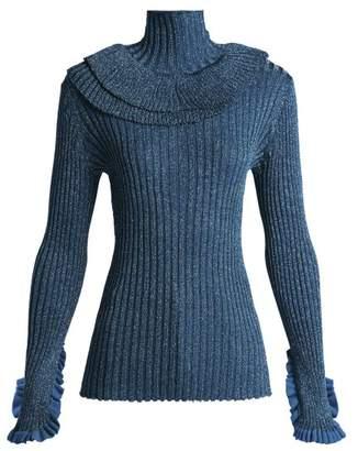 Chloé Metallic Ruffle Trimmed Silk Blend Sweater - Womens - Blue