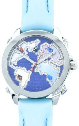 Jacob & co Five Time Zone Stainless Steel Diamond Accented Blue Dial Unisex Watch