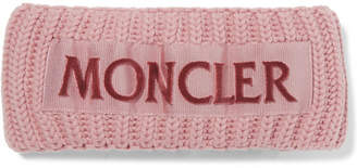 Moncler Flocked Grosgrain-trimmed Ribbed Wool Headband - Pink