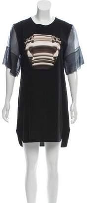 Neil Barrett Silk-Accented Mini Dress