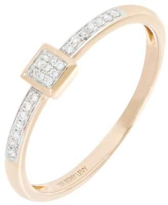 Bony Levy Mika 18K Rose Gold Pave Diamond Square Shape Ring - 0.12 ctw