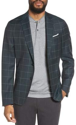 BOSS Nobis Trim Fit Windowpane Wool Sport Coat